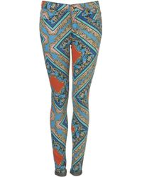 Moto Baroque Print Skinny Jeans - Lyst