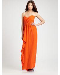 Nicole Miller Strapless Silk Chiffon Gown - Lyst