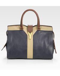Saint Laurent Ysl Colorblocked Cabas Chyc Large Leather East/west Bag - Lyst