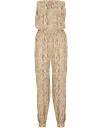 Haute Hippie - Python-print Silk-crepe Jumpsuit - Lyst