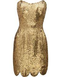 Rachel Gilbert Lexi Sequined Mini Dress gold - Lyst