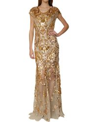 Roberto Cavalli Tulle Mermaid Dress with Golden Sequins Embrodery beige - Lyst