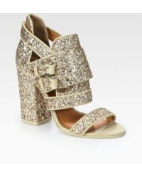 Givenchy Glitter-coated Leather and Suede Sandals - Lyst
