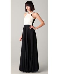 Mason by Michelle Mason Ivory Leather Bodice Gown - Lyst