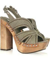 Miu Miu Canvas and Wooden Platform Sandals - Lyst