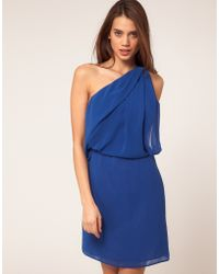 ASOS Collection Asos One Shoulder Dress with Drape Front - Lyst