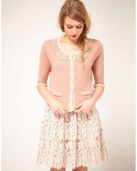 Darling - Darling Embellished Pearl Cardigan - Lyst