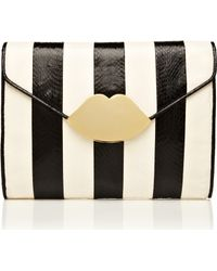 Lulu Guinness Black and White Stripe Snakeskin Small Envelope Clutch - Lyst
