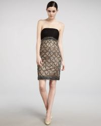 Sue Wong Beaded-skirt Strapless Dress - Lyst