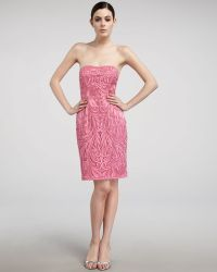 Sue Wong Strapless Embroidered Cocktail Dress - Lyst
