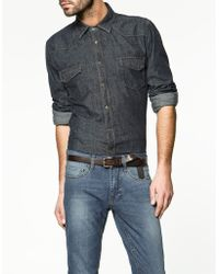 Zara Denim Shirt - Lyst