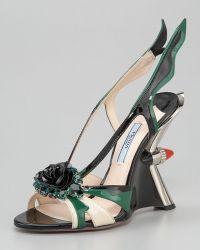 Prada Jewel-toe Taillight Wedge Sandal - Lyst