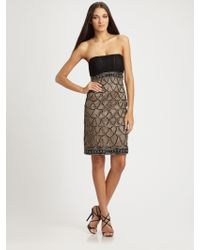 Sue Wong Strapless Dress - Lyst