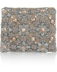 Christopher Kane Embroidered and Crystal-Embellished Silk-tulle Clutch - Lyst