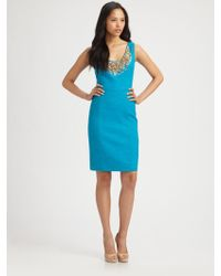 Milly Kaylee Beaded Linen Dress blue - Lyst