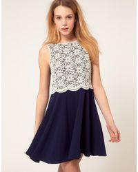 River Island Lace Panel Skater Dress - Lyst