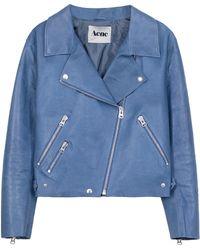 Acne Studios Rita Leather Biker Jacket blue - Lyst