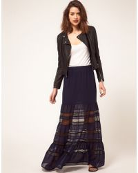 Asos Maxi Skirt in Sheer And Solid Stripe - Lyst