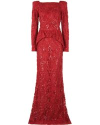 Eastland Padded Shoulder Sequin Gown - Lyst