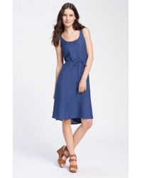 Eileen Fisher Sleeveless Belted Linen Dress - Lyst