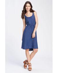Eileen Fisher Sleeveless Belted Linen Dress blue - Lyst