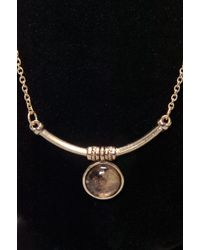 Low Luv by Erin Wasson Mini Bar & Round Stone Necklace - Yellow Gold - Lyst