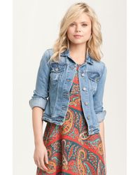 Paige 'Vermont' Distressed Denim Jacket - Lyst