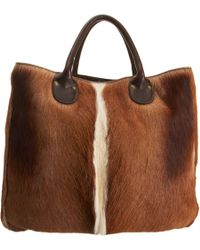 Barneys New York Brown Gazelle Tote - Lyst