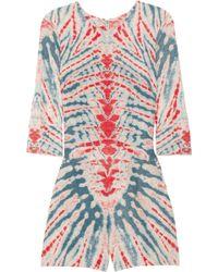 Raquel Allegra - Tie-dye Silk and Linen-blend Playsuit - Lyst