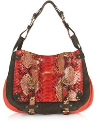 Abaco - Jamily Red Python and Canvas Shoulder Bag - Lyst