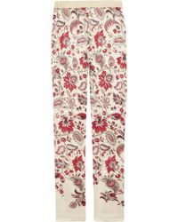 Clements Ribeiro Printed Silk Skinny Pants - Lyst