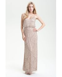 Adrianna Papell Embellished Blouson Gown gold - Lyst