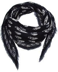 Alexander McQueen Dahlia Skull Print Modal-Silk Scarf - Lyst