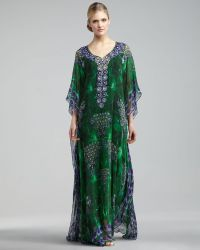 Badgley Mischka Embroidered-neck Printed Caftan - Lyst