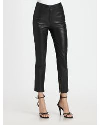 By Malene Birger Alisa Cropped Leather Pants - Lyst