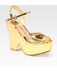 Dolce Vita Jacobi Metallic Leather Platform Sandals - Lyst