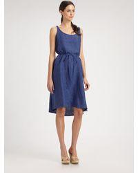 Eileen Fisher Washed Linen Dress blue - Lyst