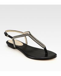 Kors by Michael Kors Zanna Leather & Chain-embellished Slingback Thong Sandals - Lyst