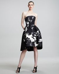 Monique Lhuillier Strapless Graphic Cocktail Dress - Lyst