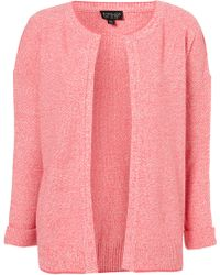 Topshop Knitted Tweedy Short Cardigan pink - Lyst