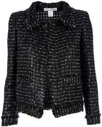 Oscar de la Renta Open Knit Jacket black - Lyst