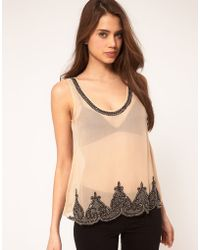 TFNC Tfnc Embellished Scalloped Edge Top beige - Lyst