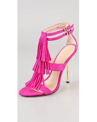 B Brian Atwood Luciana Suede Fringe Sandals - Lyst