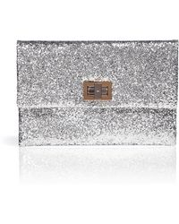 Anya Hindmarch Silver Glitter Fabric Valorie Clutch - Lyst
