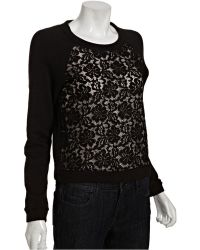 BCBGMAXAZRIA Cotton Blend Colleen Lace Front Raglan Sweater - Lyst