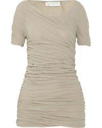Donna Karan New York Ruched Cotton Top - Lyst