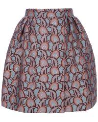 Rochas Printed Puff-ball Skirt blue - Lyst