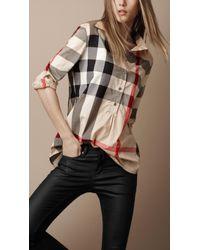 Burberry Check Cotton Tunic Shirt - Lyst