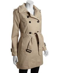 London Fog Stone Cotton Blend Double Breasted Hooded Trench - Lyst