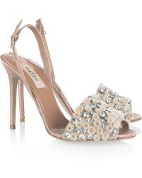 Valentino Crystal-Embellished Satin Sandals - Lyst